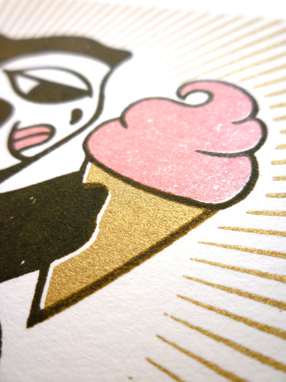 Monkey Loves Ice Cream print from La Sirena