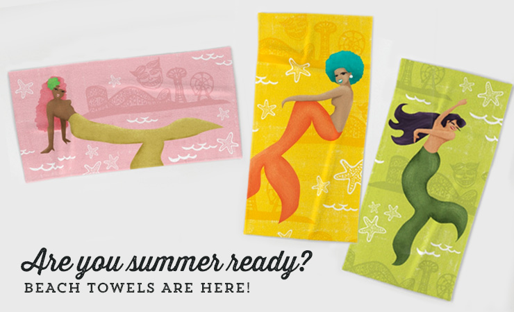 Coney Island Mermaid Beach Towels
