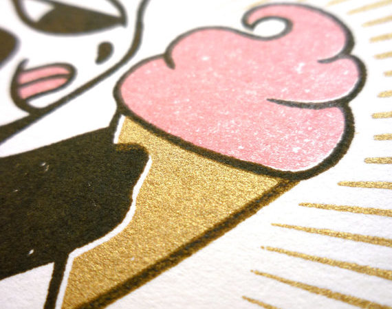 Monkey Loves Ice Cream – Limited Edition Gocco Print